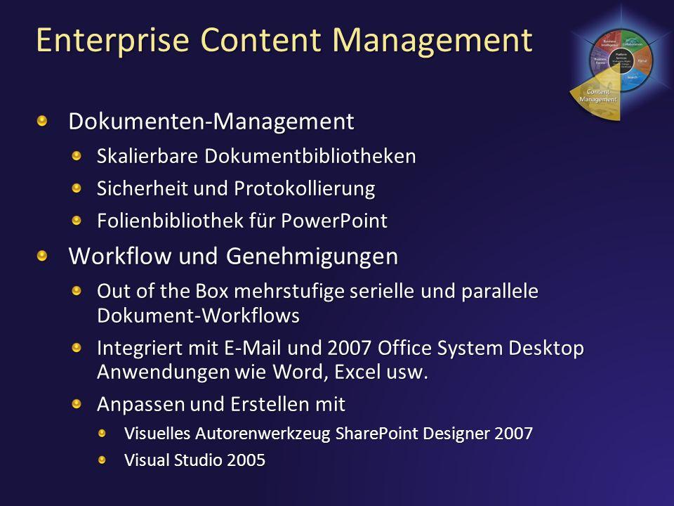 Enterprise Content Management Dokumenten-Management Skalierbare Dokumentbibliotheken Sicherheit und Protokollierung Folienbibliothek für PowerPoint Wo