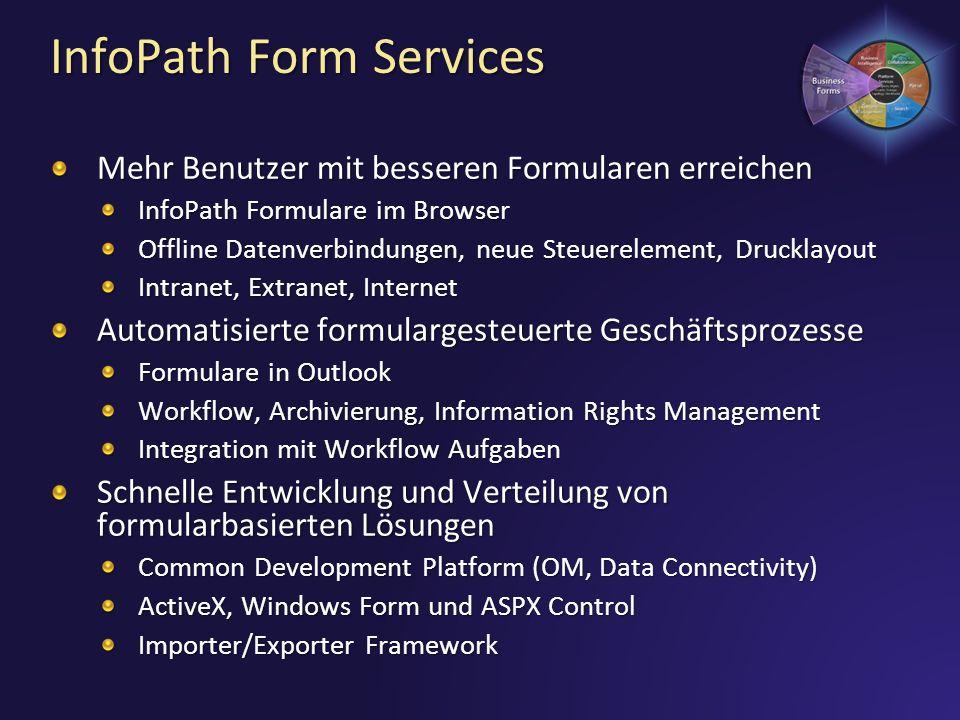 InfoPath Form Services Mehr Benutzer mit besseren Formularen erreichen InfoPath Formulare im Browser Offline Datenverbindungen, neue Steuerelement, Dr