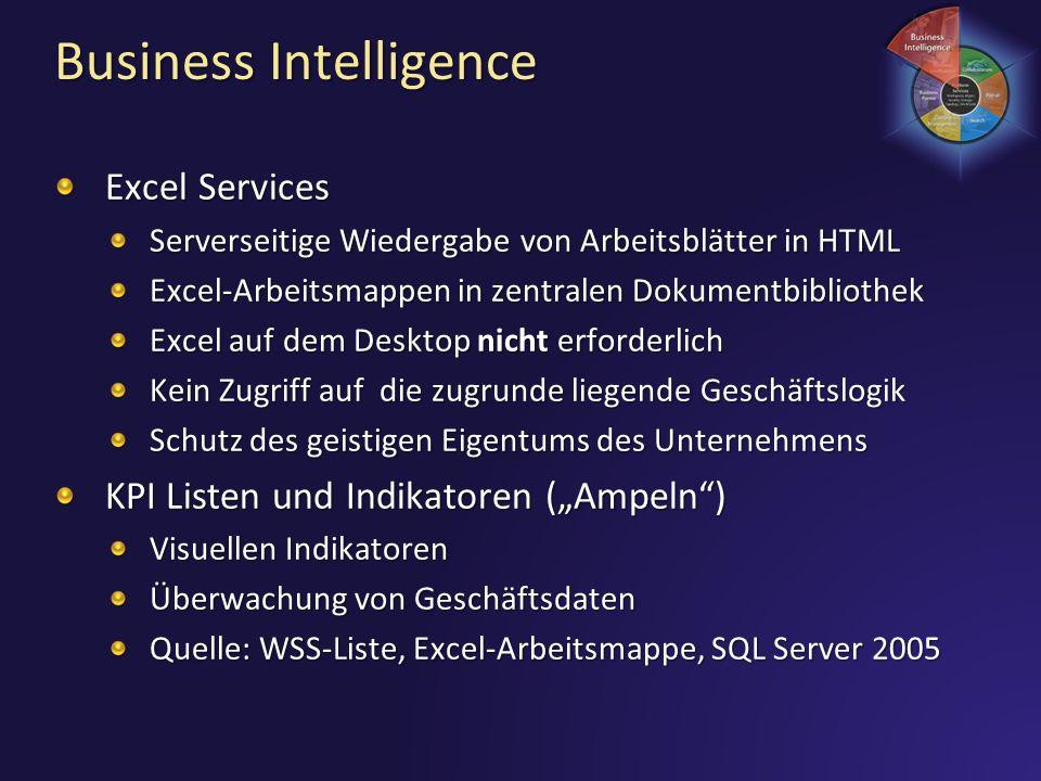 Business Intelligence Excel Services Serverseitige Wiedergabe von Arbeitsblätter in HTML Excel-Arbeitsmappen in zentralen Dokumentbibliothek Excel auf