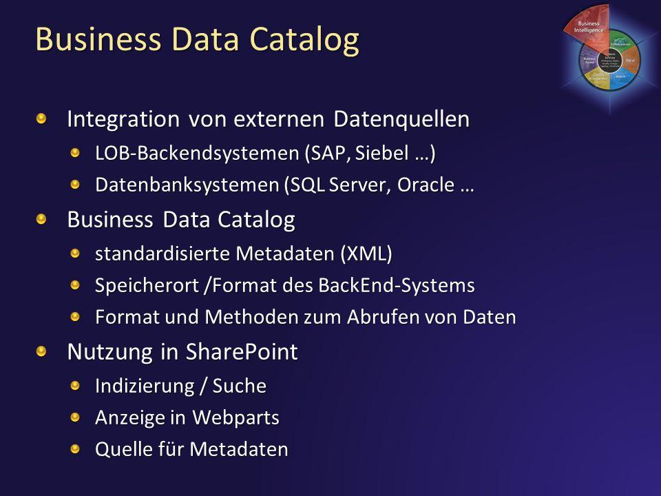Business Data Catalog Integration von externen Datenquellen LOB-Backendsystemen (SAP, Siebel …) Datenbanksystemen (SQL Server, Oracle … Business Data