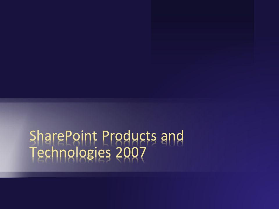 SharePoint Products and Technologies: Windows SharePoint Services 3.0 Zusammenarbeit Plattform Services Arbeitsbereiche, Mgmt, Sicherheit, Speicher, Topologie, Site Model Dokumente/Aufgaben/Termine, Blogs, Wikis, E-Mail-Integration, Project Management lite, Outlook Integration, Offline Dokumente und Listen