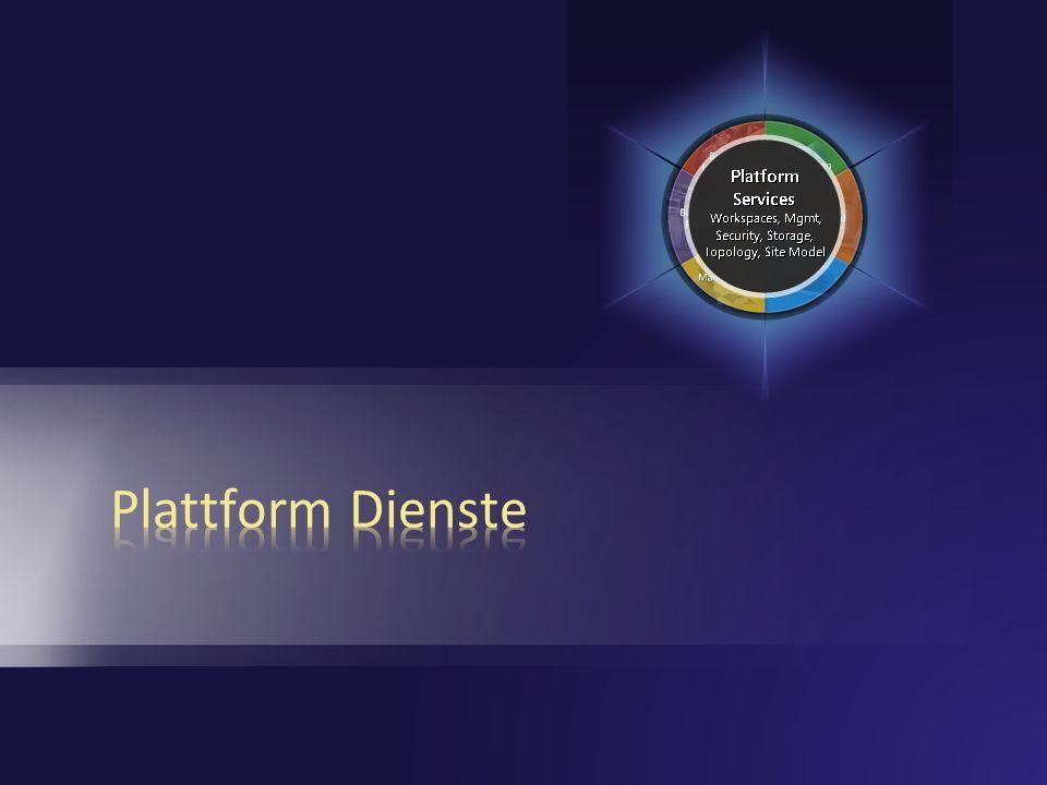 Plattform Windows Server 2003 (R2) ASP.NET 2.0/WWF Windows SharePoint Services 3.0 SQL Server 2000/2005 Shared Service Provider