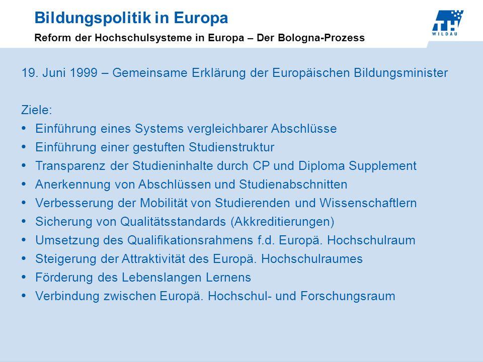 Bildungspolitik in Europa Reform der Hochschulsysteme in Europa – Der Bologna-Prozess 19. Juni 1999 – Gemeinsame Erklärung der Europäischen Bildungsmi