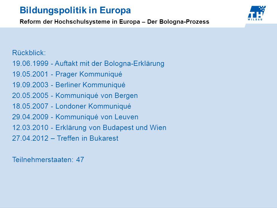 Bildungspolitik in Europa Reform der Hochschulsysteme in Europa – Der Bologna-Prozess Rückblick: 19.06.1999 - Auftakt mit der Bologna-Erklärung 19.05.