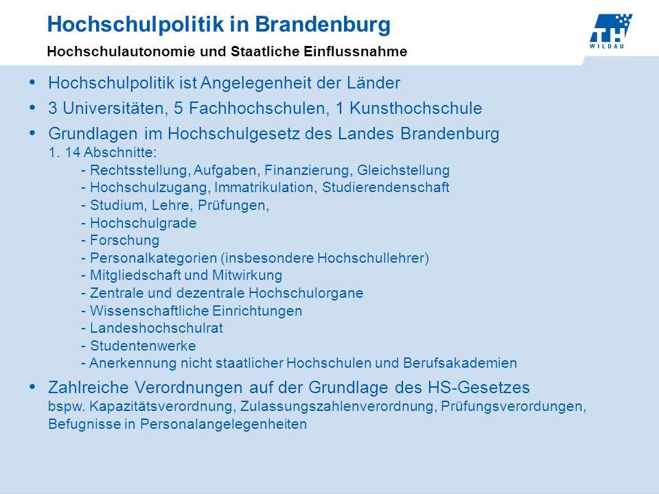 Hochschulpolitik in Brandenburg Hochschulautonomie und Staatliche Einflussnahme Hochschulpolitik ist Angelegenheit der Länder 3 Universitäten, 5 Fachh