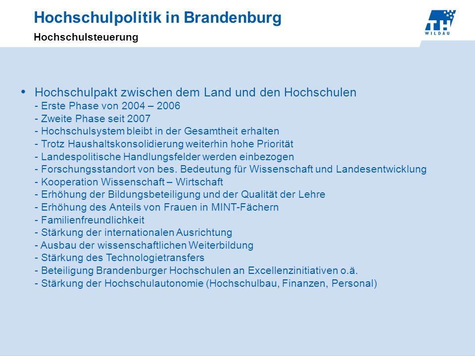 Hochschulpolitik in Brandenburg Hochschulsteuerung Hochschulpakt zwischen dem Land und den Hochschulen - Erste Phase von 2004 – 2006 - Zweite Phase se