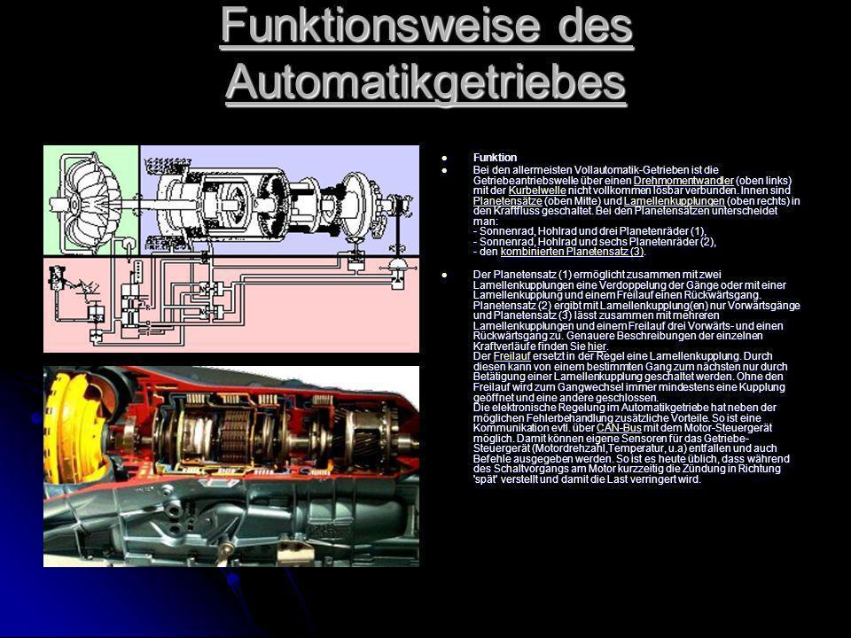 Funktionsweise des Automatikgetriebes Funktion Funktion Bei den allermeisten Vollautomatik-Getrieben ist die Getriebeantriebswelle über einen Drehmomentwandler (oben links) mit der Kurbelwelle nicht vollkommen lösbar verbunden.