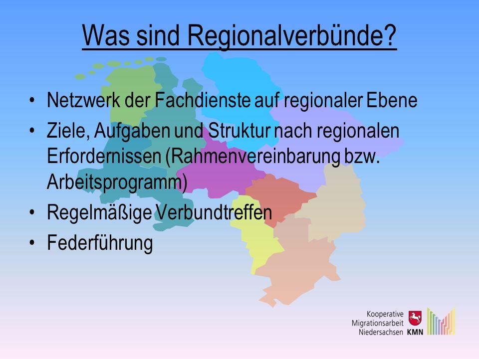 Was sind Regionalverbünde? Netzwerk der Fachdienste auf regionaler Ebene Ziele, Aufgaben und Struktur nach regionalen Erfordernissen (Rahmenvereinbaru
