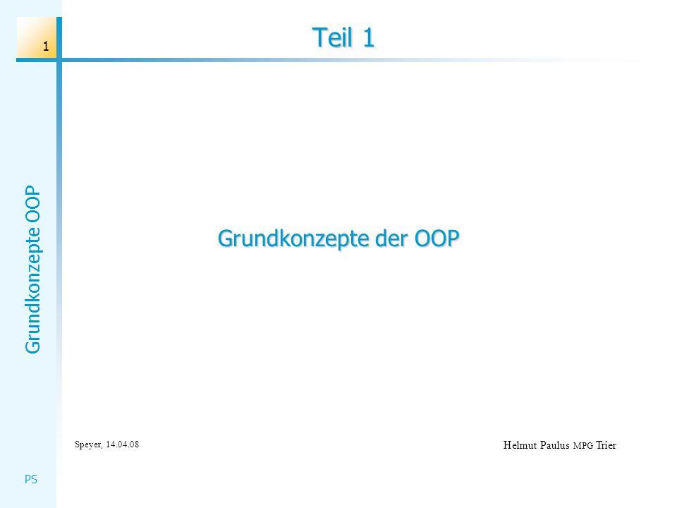 Grundkonzepte OOP PS 22 Teil 2 Helmut Paulus MPG Trier Speyer, 14.04.08 Objektorientierter Entwurf MVC-Konzept