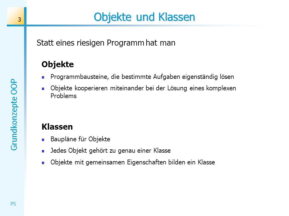 Grundkonzepte OOP PS 3 Objekte und Klassen Statt eines riesigen Programm hat man Objekte Programmbausteine, die bestimmte Aufgaben eigenständig lösen