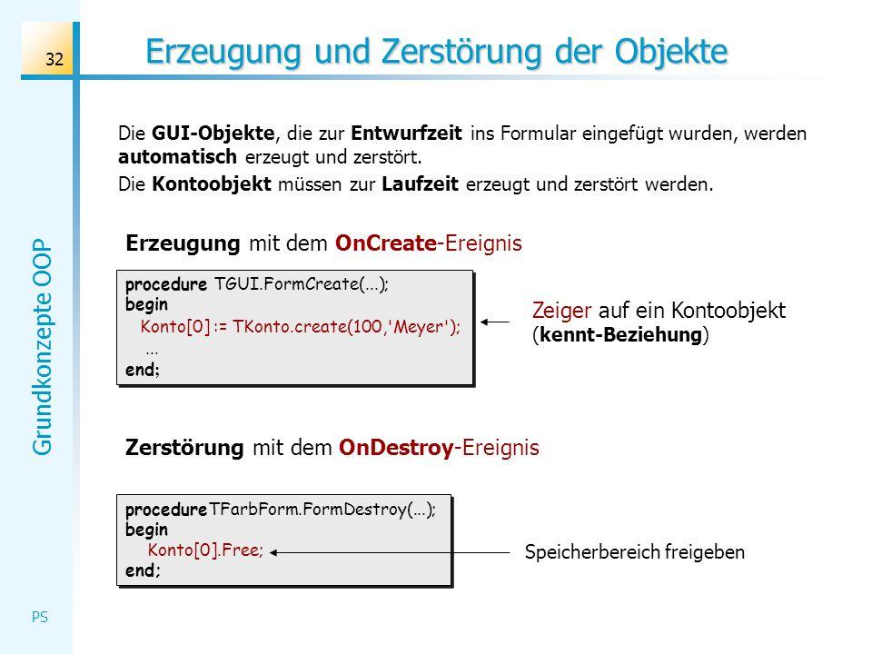 Grundkonzepte OOP PS 32 Erzeugung und Zerstörung der Objekte Die GUI-Objekte, die zur Entwurfzeit ins Formular eingefügt wurden, werden automatisch er