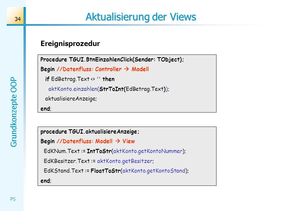 Grundkonzepte OOP PS 34 Aktualisierung der Views procedure TGUI.aktualisiereAnzeige; Begin //Datenfluss: Modell View EdKNum.Text := IntToStr(aktKonto.