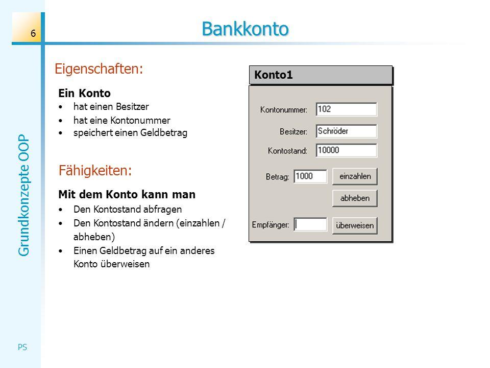 Grundkonzepte OOP PS 6 Bankkonto Ein Konto hat einen Besitzer hat eine Kontonummer speichert einen Geldbetrag Mit dem Konto kann man Den Kontostand ab