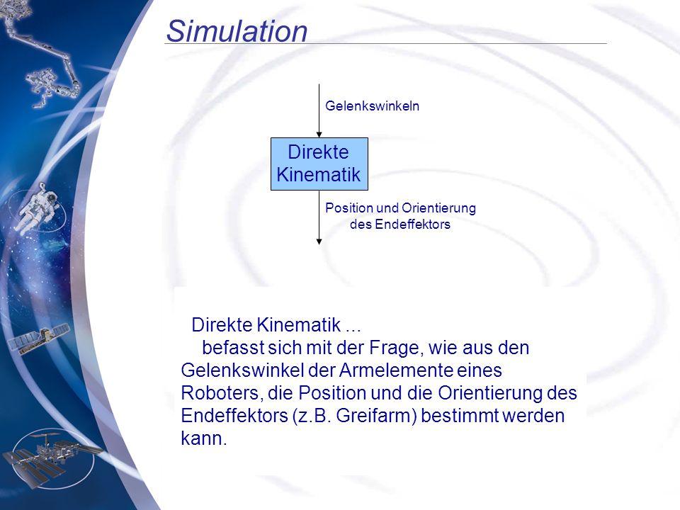 Simulation Direkte Kinematik... befasst sich mit der Frage, wie aus den Gelenkswinkel der Armelemente eines Roboters, die Position und die Orientierun