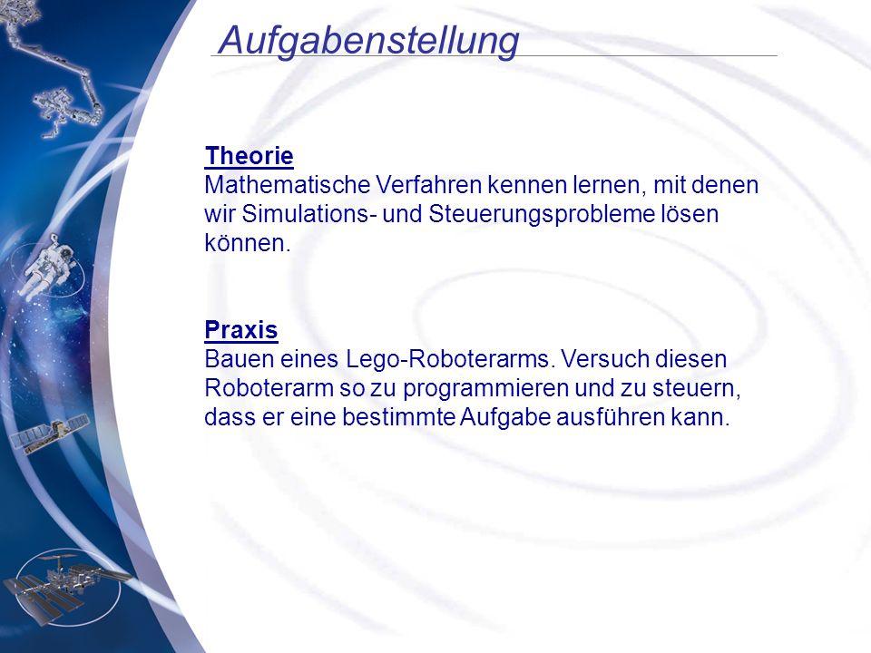 Aufgabenstellung Theorie Mathematische Verfahren kennen lernen, mit denen wir Simulations- und Steuerungsprobleme lösen können. Praxis Bauen eines Leg