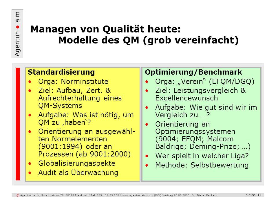 Agentur aim Seite 11 © Agentur - aim, Untermainkai 20, 60329 Frankfurt / Tel. 069 - 97 99 100 / www.agentur-aim.com (DGQ Vortrag 28.01.2010; Dr. Diete