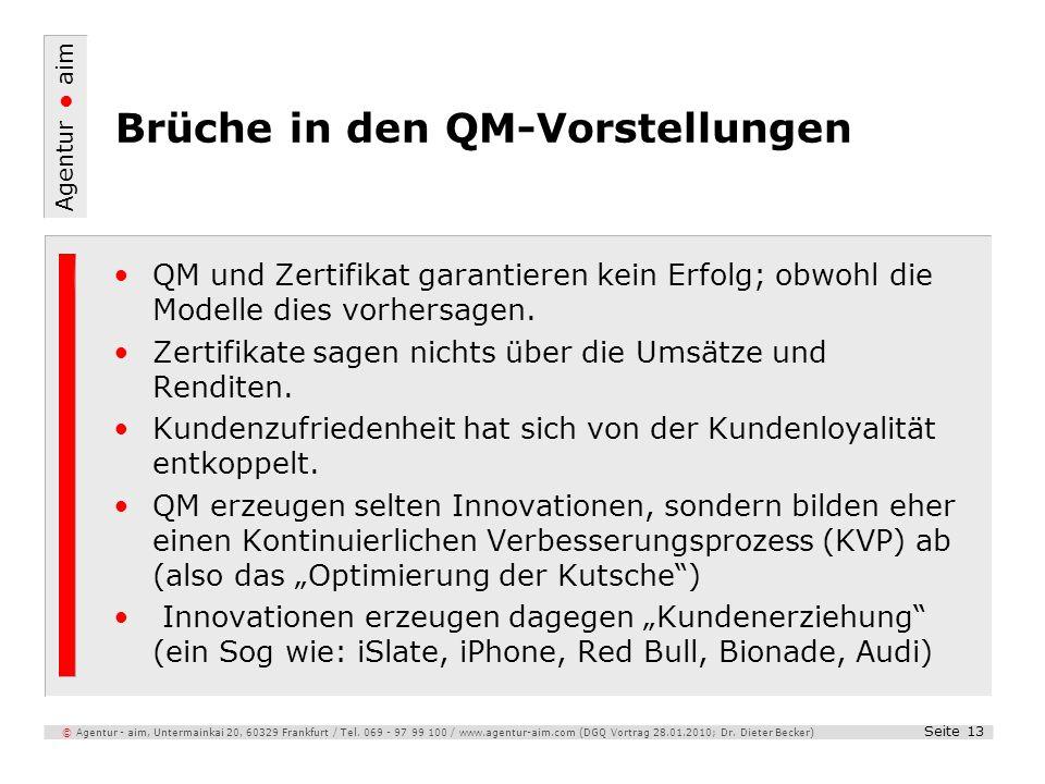 Agentur aim Seite 13 © Agentur - aim, Untermainkai 20, 60329 Frankfurt / Tel. 069 - 97 99 100 / www.agentur-aim.com (DGQ Vortrag 28.01.2010; Dr. Diete