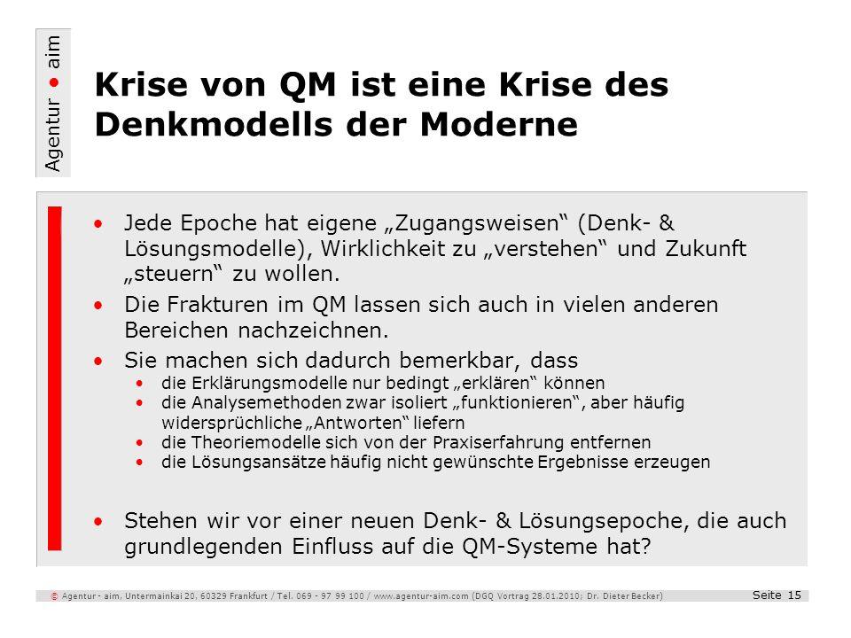 Agentur aim Seite 15 © Agentur - aim, Untermainkai 20, 60329 Frankfurt / Tel. 069 - 97 99 100 / www.agentur-aim.com (DGQ Vortrag 28.01.2010; Dr. Diete