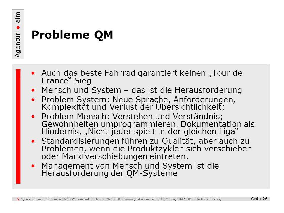 Agentur aim Seite 26 © Agentur - aim, Untermainkai 20, 60329 Frankfurt / Tel. 069 - 97 99 100 / www.agentur-aim.com (DGQ Vortrag 28.01.2010; Dr. Diete