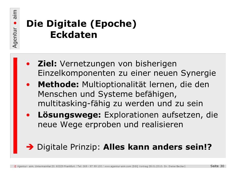 Agentur aim Seite 30 © Agentur - aim, Untermainkai 20, 60329 Frankfurt / Tel. 069 - 97 99 100 / www.agentur-aim.com (DGQ Vortrag 28.01.2010; Dr. Diete