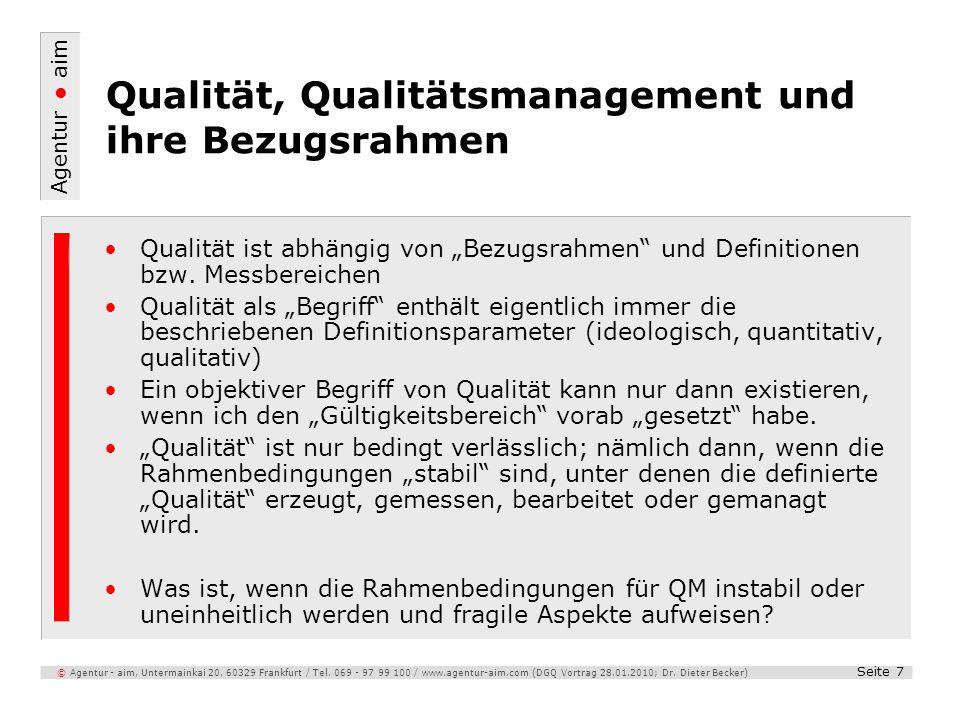 Agentur aim Seite 7 © Agentur - aim, Untermainkai 20, 60329 Frankfurt / Tel. 069 - 97 99 100 / www.agentur-aim.com (DGQ Vortrag 28.01.2010; Dr. Dieter