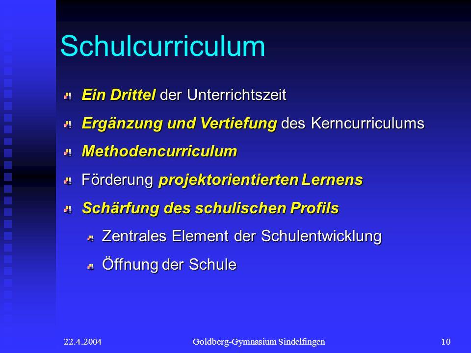 22.4.2004Goldberg-Gymnasium Sindelfingen10 Schulcurriculum Ein Drittel der Unterrichtszeit Ergänzung und Vertiefung des Kerncurriculums Methodencurric