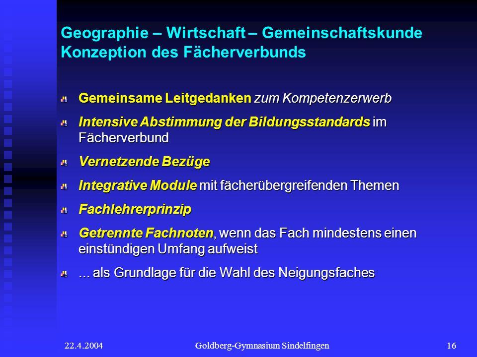 22.4.2004Goldberg-Gymnasium Sindelfingen16 Geographie – Wirtschaft – Gemeinschaftskunde Konzeption des Fächerverbunds Gemeinsame Leitgedanken zum Komp