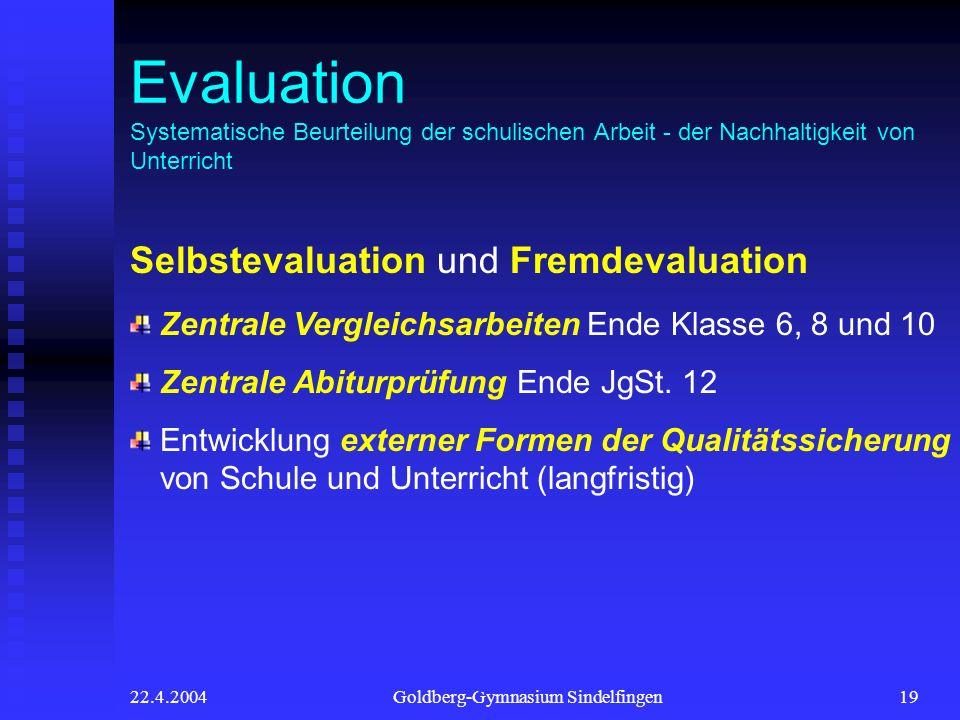 22.4.2004Goldberg-Gymnasium Sindelfingen19 4 Evaluation Systematische Beurteilung der schulischen Arbeit - der Nachhaltigkeit von Unterricht Selbsteva