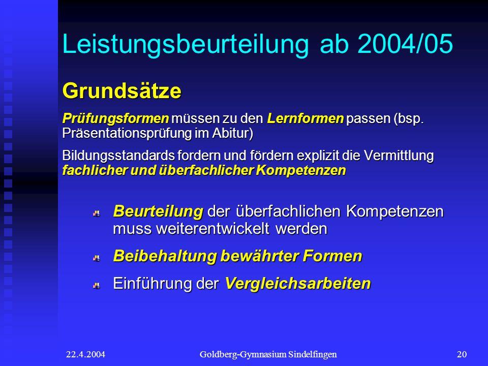 22.4.2004Goldberg-Gymnasium Sindelfingen20 Leistungsbeurteilung ab 2004/05 Grundsätze Prüfungsformen müssen zu den Lernformen passen (bsp.
