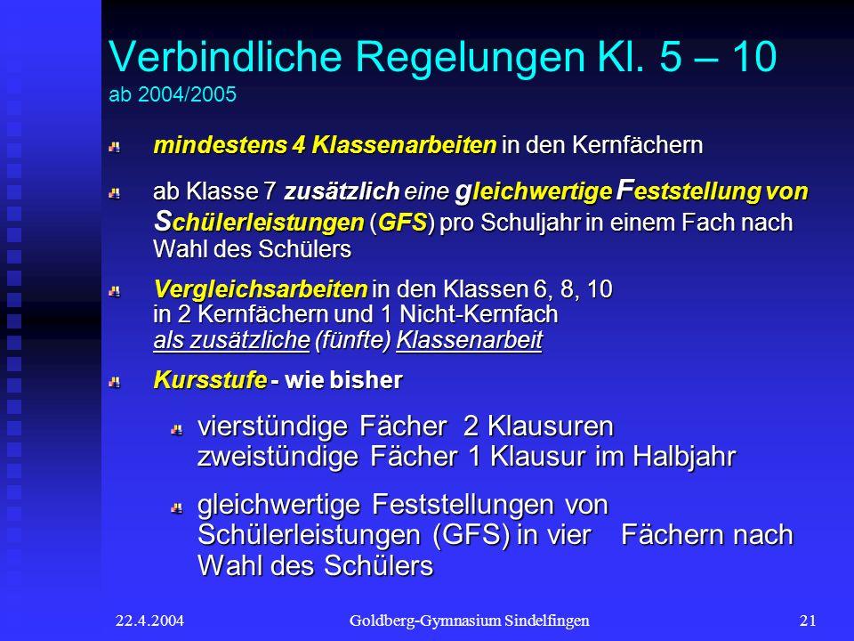 22.4.2004Goldberg-Gymnasium Sindelfingen21 Verbindliche Regelungen Kl. 5 – 10 ab 2004/2005 mindestens 4 Klassenarbeiten in den Kernfächern ab Klasse 7