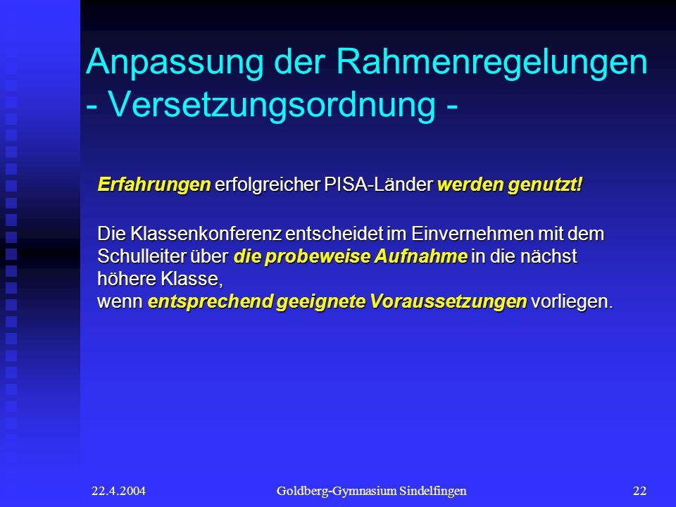 22.4.2004Goldberg-Gymnasium Sindelfingen22 Anpassung der Rahmenregelungen - Versetzungsordnung - Erfahrungen erfolgreicher PISA-Länder werden genutzt!