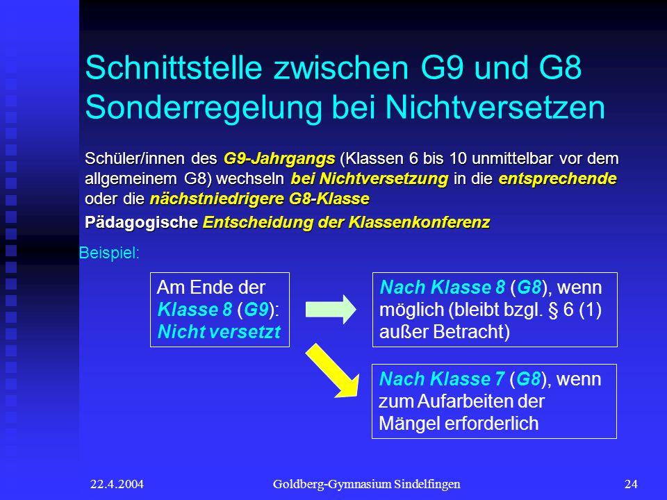 22.4.2004Goldberg-Gymnasium Sindelfingen24 Schnittstelle zwischen G9 und G8 Sonderregelung bei Nichtversetzen Schüler/innen des G9-Jahrgangs (Klassen 6 bis 10 unmittelbar vor dem allgemeinem G8) wechseln bei Nichtversetzung in die entsprechende oder die nächstniedrigere G8-Klasse Pädagogische Entscheidung der Klassenkonferenz Beispiel: Am Ende der Klasse 8 (G9): Nicht versetzt Nach Klasse 8 (G8), wenn möglich (bleibt bzgl.