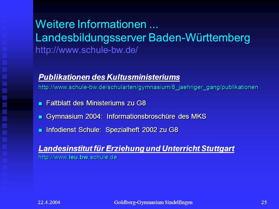 22.4.2004Goldberg-Gymnasium Sindelfingen25 Weitere Informationen... Landesbildungsserver Baden-Württemberg http://www.schule-bw.de/ Publikationen des