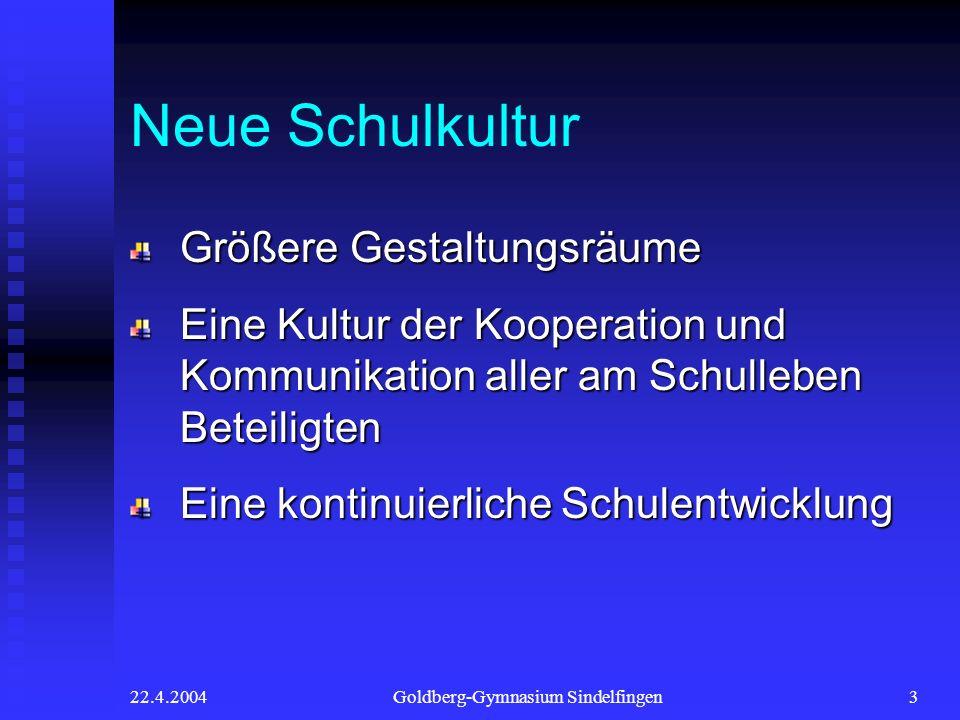 22.4.2004Goldberg-Gymnasium Sindelfingen3 Neue Schulkultur Größere Gestaltungsräume Eine Kultur der Kooperation und Kommunikation aller am Schulleben
