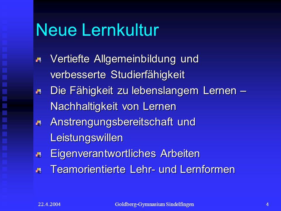 22.4.2004Goldberg-Gymnasium Sindelfingen4 Neue Lernkultur Vertiefte Allgemeinbildung und verbesserte Studierfähigkeit Die Fähigkeit zu lebenslangem Le