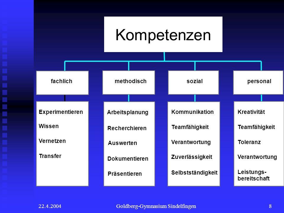 22.4.2004Goldberg-Gymnasium Sindelfingen8 Arbeitsplanung Recherchieren Auswerten Dokumentieren Präsentieren Kommunikation Teamfähigkeit Verantwortung
