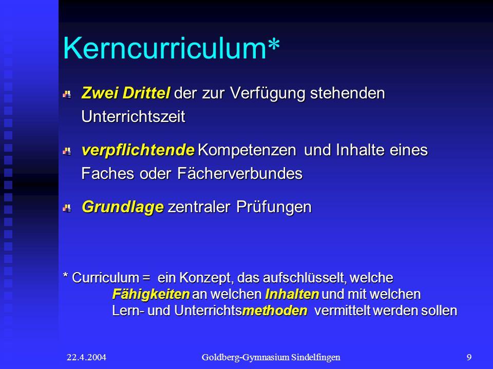 22.4.2004Goldberg-Gymnasium Sindelfingen9 Kerncurriculum * Zwei Drittel der zur Verfügung stehenden Unterrichtszeit verpflichtende Kompetenzen und Inh