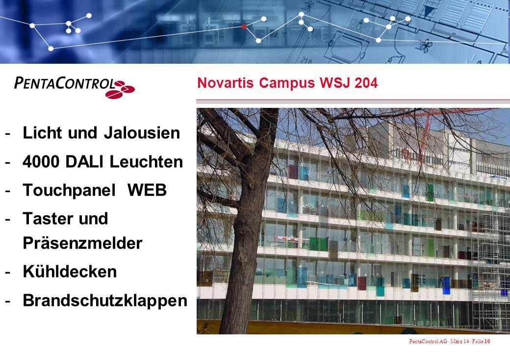 PentaControl AG · März 14 · Folie 10 Novartis Campus WSJ 204 -Licht und Jalousien -4000 DALI Leuchten -Touchpanel WEB -Taster und Präsenzmelder -Kühldecken -Brandschutzklappen