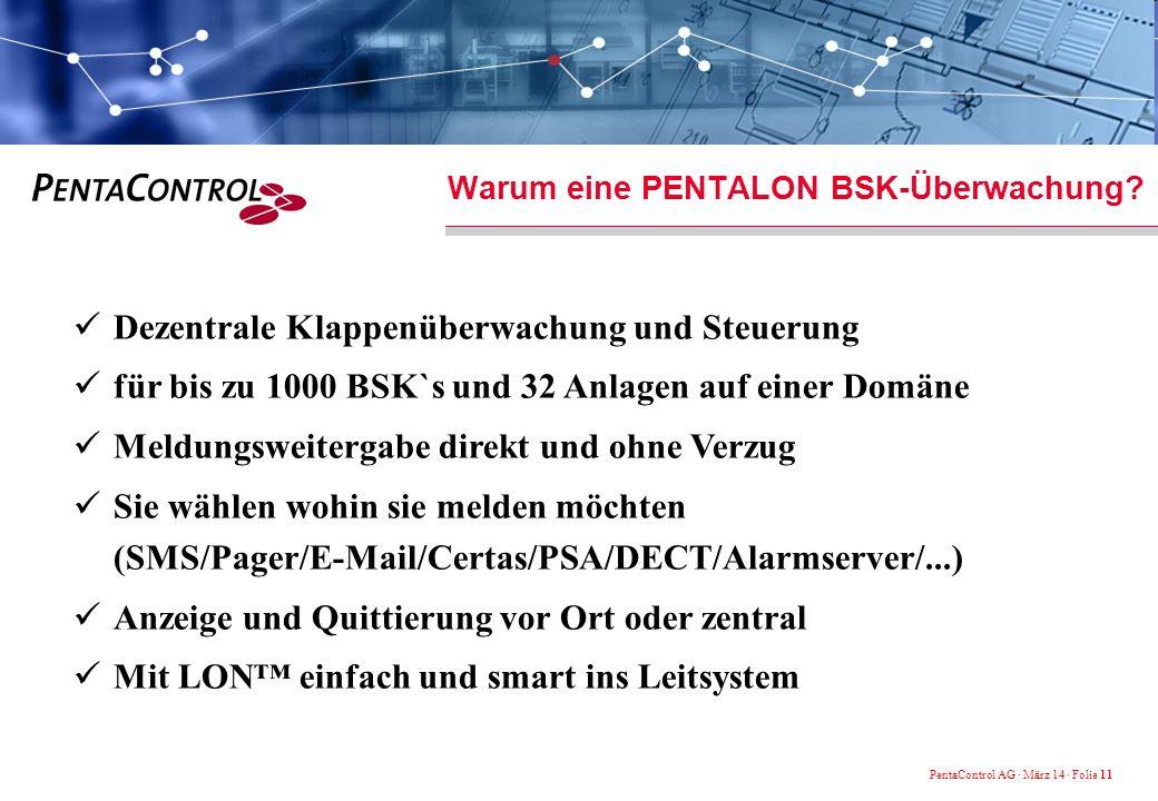 PentaControl AG · März 14 · Folie 11 Dezentrale Klappenüberwachung und Steuerung für bis zu 1000 BSK`s und 32 Anlagen auf einer Domäne Meldungsweitergabe direkt und ohne Verzug Sie wählen wohin sie melden möchten (SMS/Pager/E-Mail/Certas/PSA/DECT/Alarmserver/...) Anzeige und Quittierung vor Ort oder zentral Mit LON einfach und smart ins Leitsystem Warum eine PENTALON BSK-Überwachung?