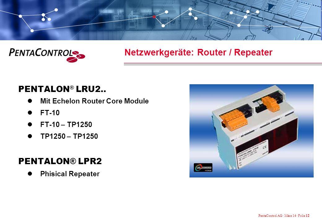 PentaControl AG · März 14 · Folie 12 Netzwerkgeräte: Router / Repeater PENTALON ® LRU2..