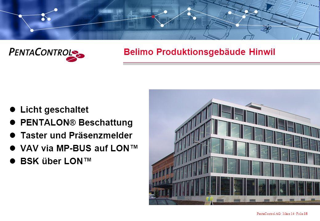 PentaControl AG · März 14 · Folie 18 Belimo Produktionsgebäude Hinwil Licht geschaltet PENTALON ® Beschattung Taster und Präsenzmelder VAV via MP-BUS auf LON BSK über LON