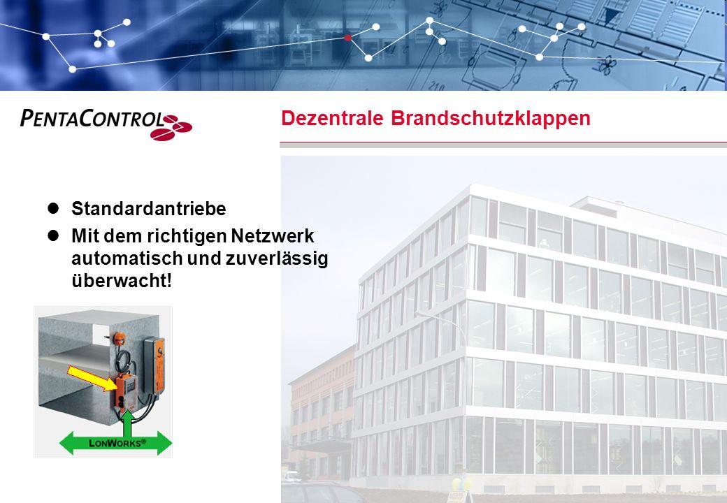 PentaControl AG · März 14 · Folie 3 Dezentrale Brandschutzklappen Standardantriebe Mit dem richtigen Netzwerk automatisch und zuverlässig überwacht!
