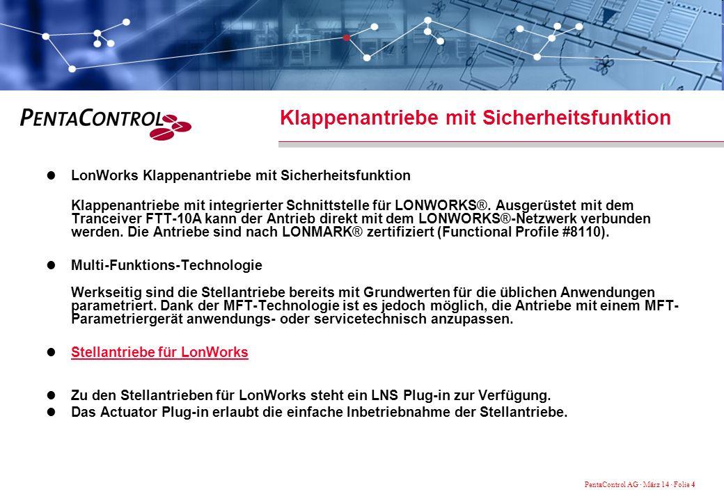 PentaControl AG · März 14 · Folie 4 Klappenantriebe mit Sicherheitsfunktion LonWorks Klappenantriebe mit Sicherheitsfunktion Klappenantriebe mit integrierter Schnittstelle für LONWORKS®.