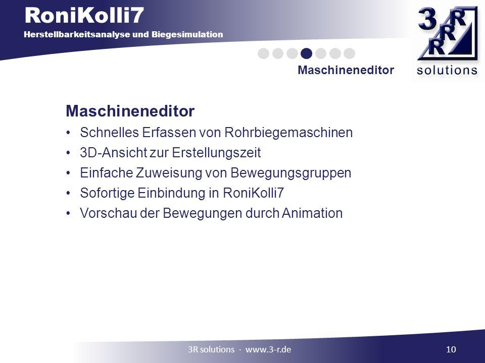 RoniKolli7 Herstellbarkeitsanalyse und Biegesimulation Maschineneditor 10 Maschineneditor Schnelles Erfassen von Rohrbiegemaschinen 3D-Ansicht zur Ers