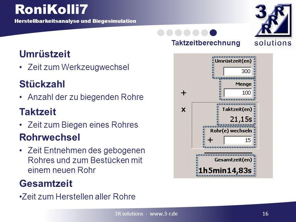 RoniKolli7 Herstellbarkeitsanalyse und Biegesimulation Taktzeitberechnung 3R solutions www.3-r.de16 Umrüstzeit Zeit zum Werkzeugwechsel Stückzahl Anza
