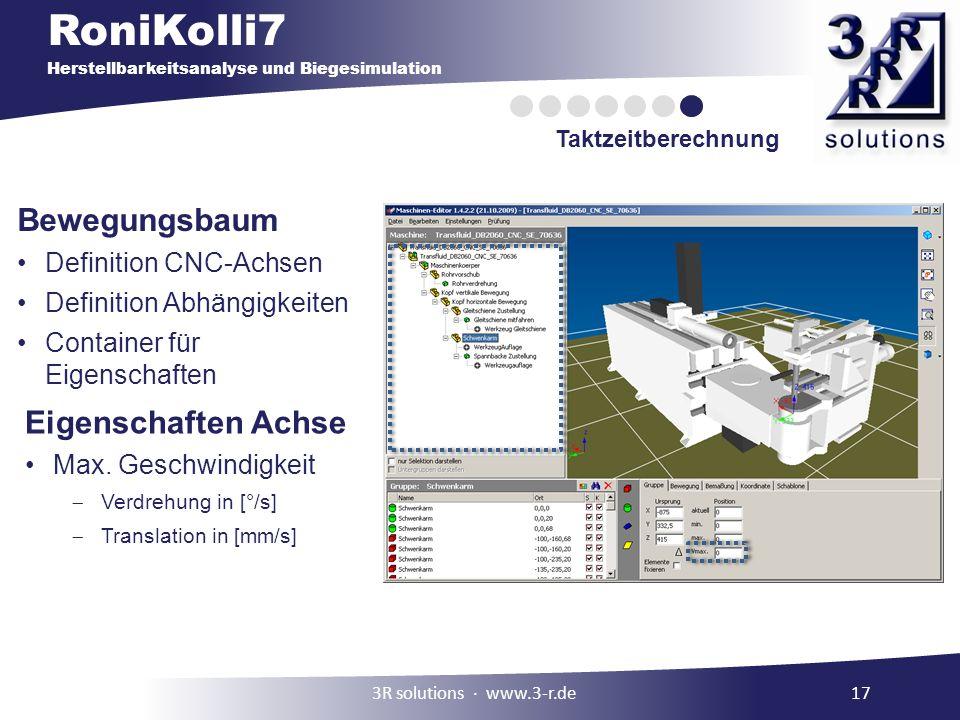 RoniKolli7 Herstellbarkeitsanalyse und Biegesimulation Taktzeitberechnung 3R solutions www.3-r.de17 Bewegungsbaum Definition CNC-Achsen Definition Abhängigkeiten Container für Eigenschaften Eigenschaften Achse Max.