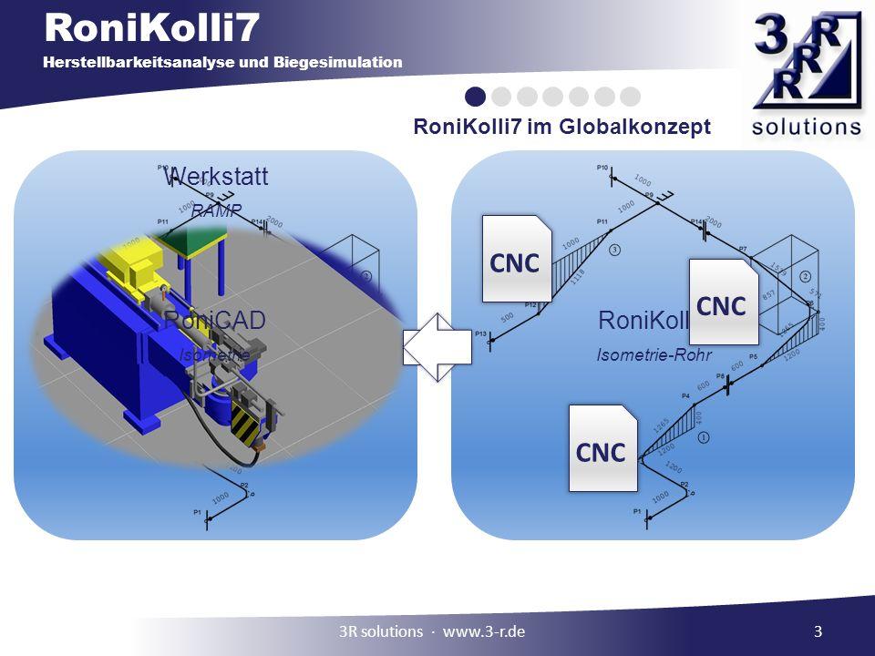 RoniKolli7 Herstellbarkeitsanalyse und Biegesimulation 3 RoniKolli7 im Globalkonzept RoniCAD Isometrie RoniKolli7 Isometrie-Rohr Werkstatt RAMP 3R sol