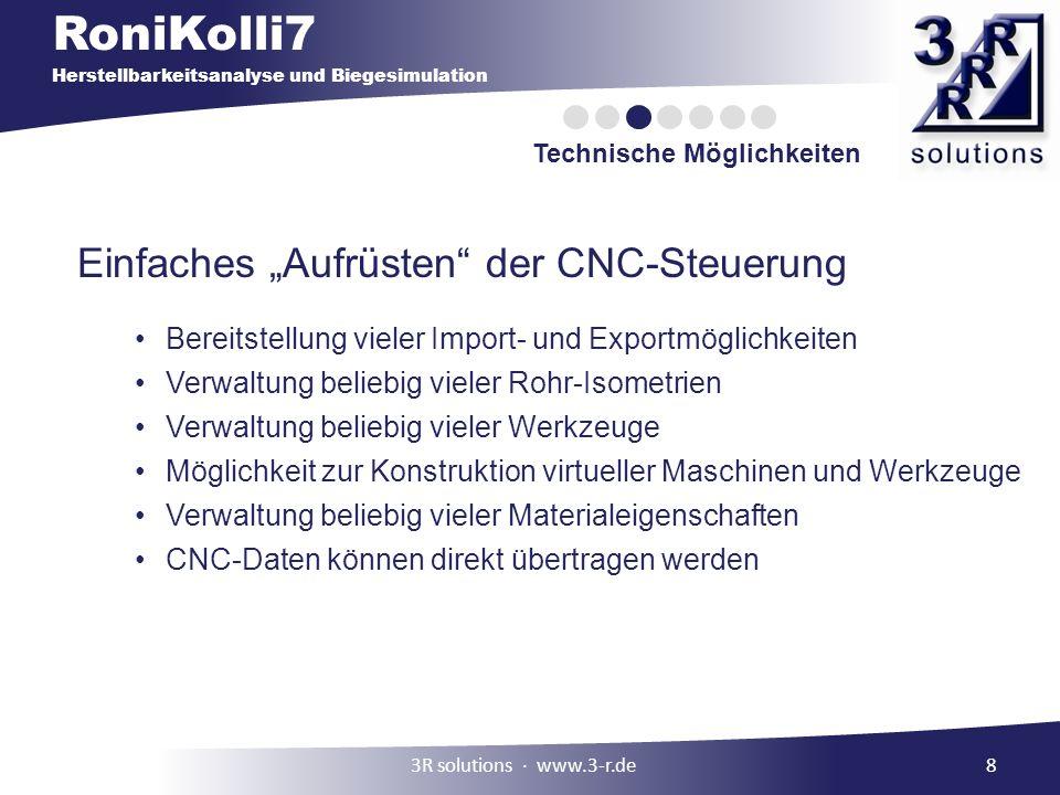 RoniKolli7 Herstellbarkeitsanalyse und Biegesimulation Technische Möglichkeiten 8 Einfaches Aufrüsten der CNC-Steuerung Bereitstellung vieler Import-