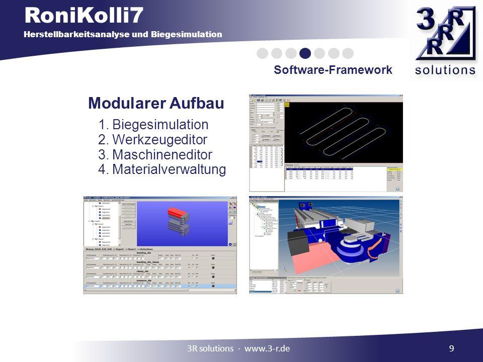 RoniKolli7 Herstellbarkeitsanalyse und Biegesimulation Software-Framework 9 Modularer Aufbau 1.Biegesimulation 2.Werkzeugeditor 3.Maschineneditor 4.Materialverwaltung 3R solutions www.3-r.de