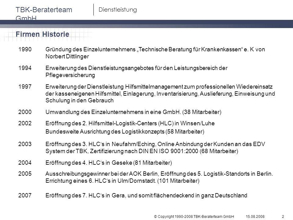 © Copyright 1990-2008 TBK-Beraterteam GmbH TBK-Beraterteam GmbH 15.08.20082 Dienstleistung 1990Gründung des Einzelunternehmens Technische Beratung für